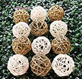 Thailand's Gifts : Natural Small Wicker Balls With Two Tone Color Gold And White For DIY Vase And Bowl Filler Ornament, Decorative Spheres Balls Perfect For Decoration And Party 2-2.5 inch 12 Pcs