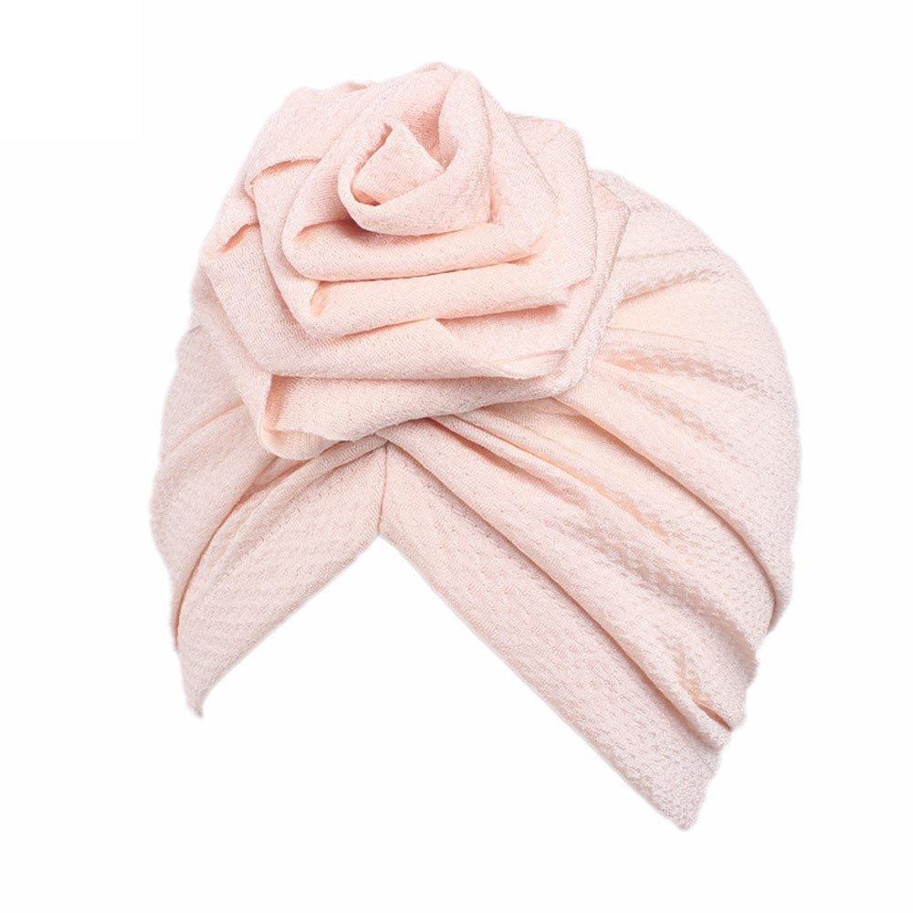 AutumnFall Children Baby Girls Rose Boho Hat Beanie Scarf Turban Head Wrap Cap,2-8 Years Old Kids (Beige)