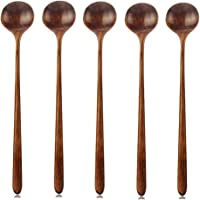 Long Spoons Wooden, 5 Pieces Korean Style 10.9 inches 100% Natural Wood Long Handle Round Spoons for Soup Cooking Mixing Stirrer Kitchen Tools Utensils, FDA Approved(Korean Style Soup Spoon)