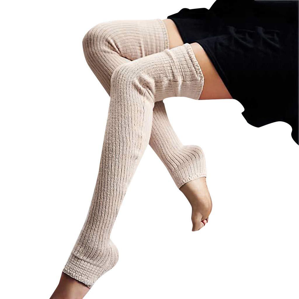 Pervobs Ladies Women Thigh High OVER the KNEE Socks Long Cotton Stockings Warm Leggings Sheer(Beige)