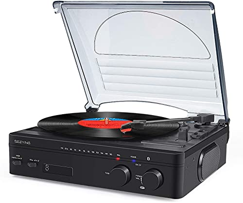 Vinyl Record Player with Speakers Turntable Bluetooth Belt-Driven Phonograph Record Player Vintage Portable Vinyl Player for Gift Choice
