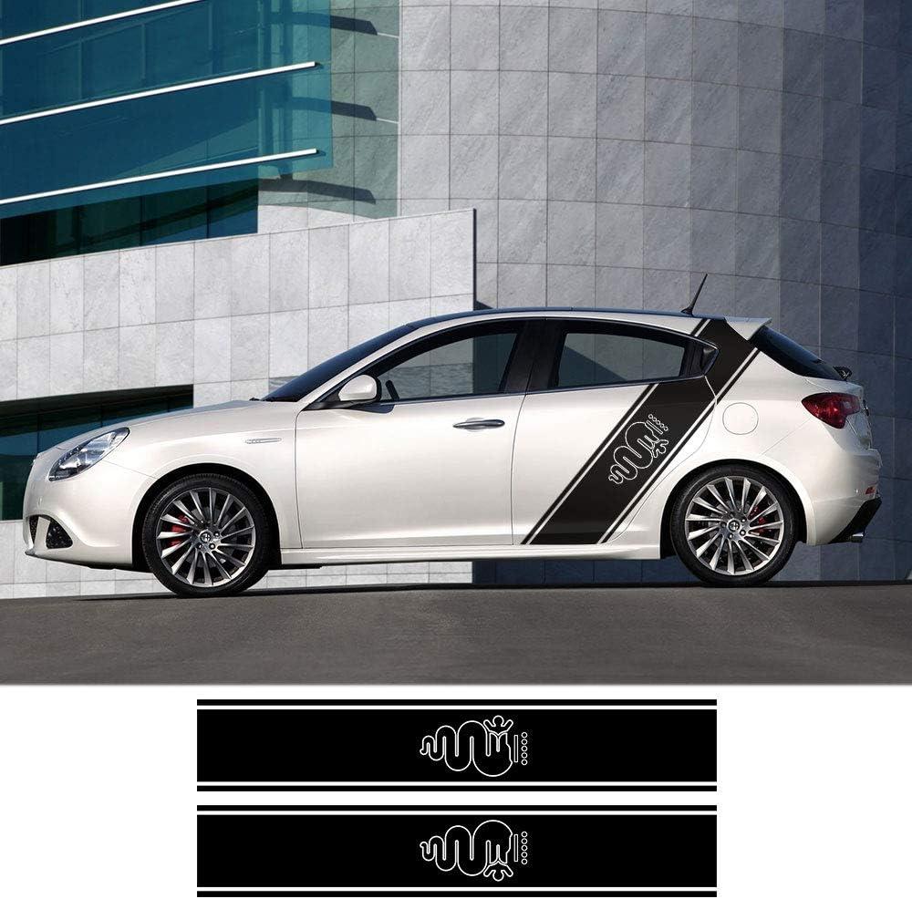 Hllebw Auto Seitenstreifen Seitenaufkleber Aufkleber For Alfa Romeo Giulia Giulietta 159 156 Mito Stelvio 147 Sportiva Duetto Gt Sport Freizeit