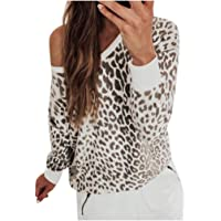 MNLOS Blusa de Manga Larga con Estampado de Leopardo para Mujer Blusa Informal con Hombros Descubiertos
