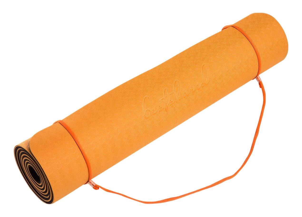 BestsharedPlus ノンスリップPVCフリー 6mm 軽量 2層 TPEヨガマット 2.4ポンド 高さ72インチ B06ZY2Q4D3 Orange/Brown Orange/Brown