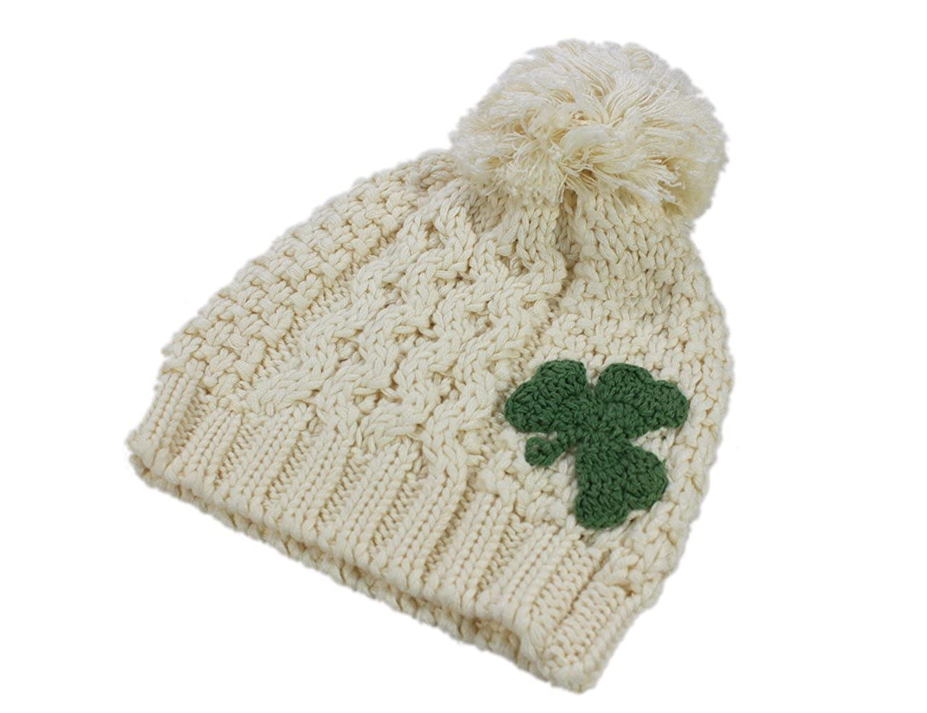 Patrick Francis Traditional Craft Kids Knitted Bobble Hat with Green  Embossed Shamrock Design 9da7ed13433