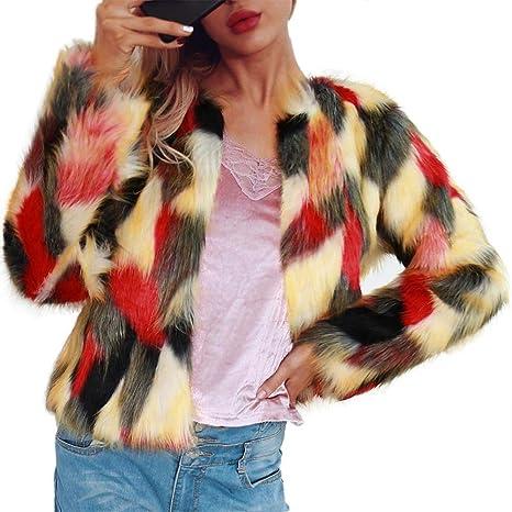 Chaqueta de abrigo de piel sintética de las mujeres Abrigo de invierno de manga larga de