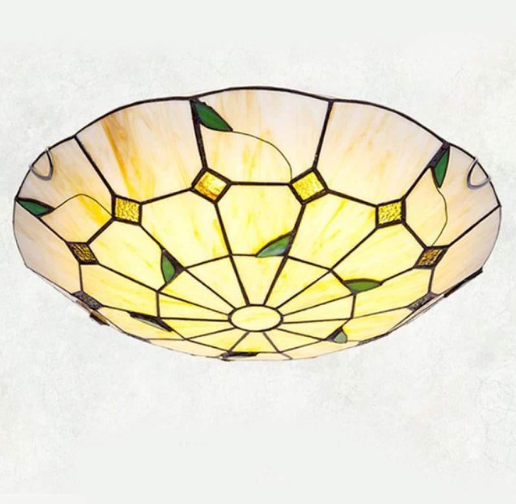 ティファニー風の素朴なLED埋め込み式シーリングライトベッドルーム用照明LEDステンドグラスシーリングライト、12インチ/ 16インチ/ 20インチ,warmlight,40cm 40cm warmlight B07RHNMCFL