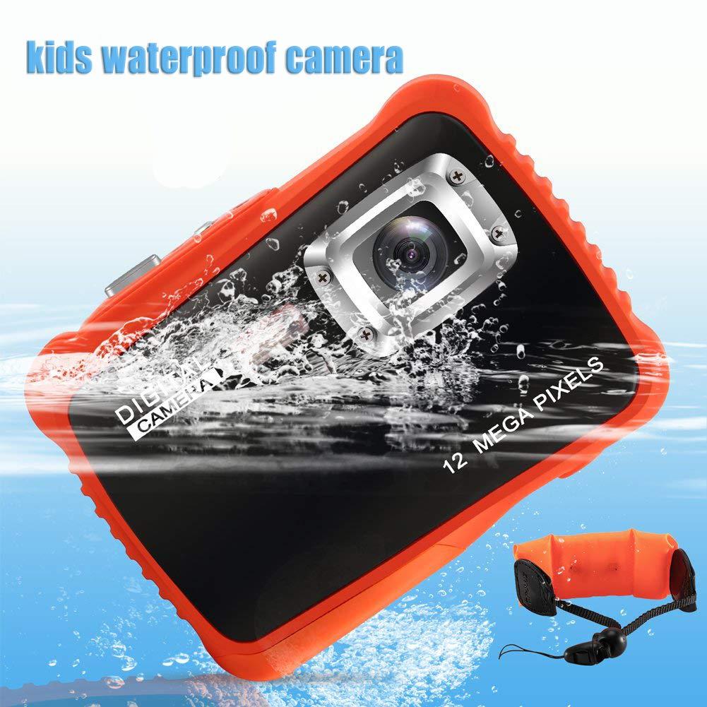 Kids Waterproof Camera for Underwater,ROTEK 12MP HD Waterproof Camera for Kids with 2.0'' LCD, 8X Digital Zoom, Flash and 8G SD Card As Children Birthday Gift Best Choice