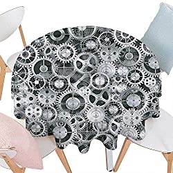 Cheery-Home Round Polyester Tablecloth duitable All Occasions,(70 Round) Clock Decor A Background Metal Realistic Cogwheels Engineering Technologic Theme Pattern Grey.
