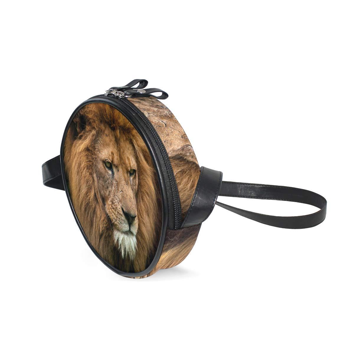 KEAKIA Portrait Of King Lion Round Crossbody Bag Shoulder Sling Bag Handbag Purse Satchel Shoulder Bag for Kids Women
