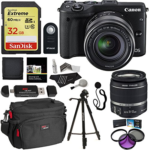 Canon-EOS-M3-Mirrorless-Camera-Kit-EF-M-18-55mm-Image-Stabilization-IS-STM-Lens-Wi-Fi-Black-Sandisk-32GB-60mbs-SDHC-Ritz-Gear-Camera-Bag-Polaroid-Tripod-Polaroid-Filter-Kit-Accessory-Bundle