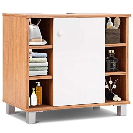 Costway Under Sink Cabinet Free Standing Bathroom Cupboard Unit With 1 Door And 6 Compartments U Shape 60 X 33 X 55cm For Storage Towels Soap