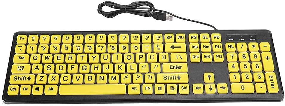Teclado de computadora de impresión grande, teclado con cable ...