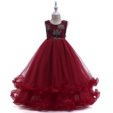 Prom Dresses for Toddlers Size 4 Sleeveless Party Wedding Holiday Burgundy Dresses for Girl 4T 5T