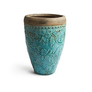 Black Velvet Studio - Vase Milos céramique, Color Turquoise et Terre Cuite. Sa Texture et la Couleur Donne de la personnalité à Votre Chambre 32x22x22 cm.