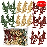 The Twiddlers 200 Mini Plastic Army Toy Soldiers in 6 Assorted Designs - 3 Ideal Party Bag Figures for Kids Military and War Games