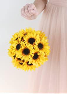 Amazon 9 sunflower kissing ball pack of 6 home kitchen wholesale silk floral sunflower ball with hanger 7 mightylinksfo