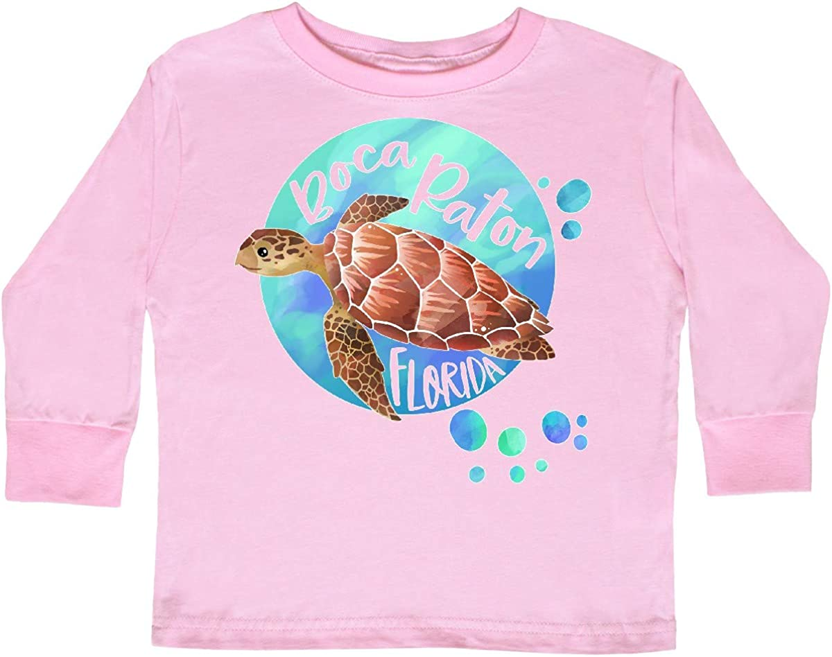 inktastic Boca Raton Florida Swimming Sea Turtle Toddler Long Sleeve T-Shirt