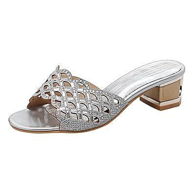 YE Damen Chunky Heels Sandalen mit Blockabsatz Offene Mules Pantoffen Outdoor Slipper mit Strass Glitzer Bequem...