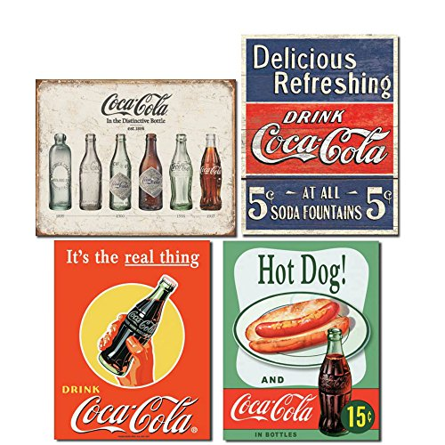 Vintage Coca Cola Tin Signs Retro Bundle - Coca Cola Bottle Evolution, Coke Delicious 5 Cents, Coke Real Thing Bottle and Hot Dog & Coca ()