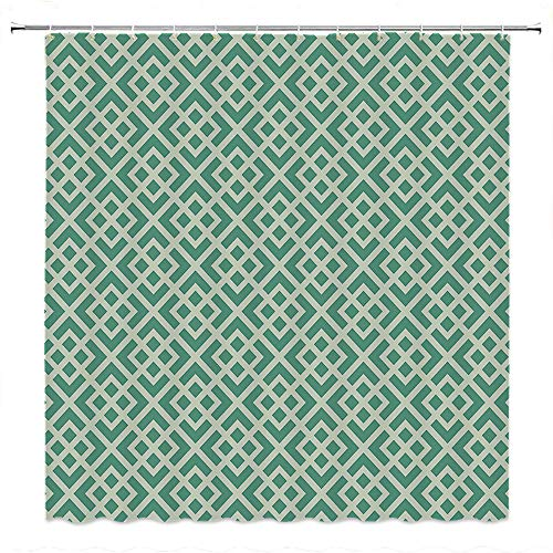 SATVSHOP Mildew-Resistant-Anti-Bacterial-Shower-Curtain-with-12-Hooks-Mint-Shabby-Fashion-Abstract-Squar-Vintage-Pattern-Checkered-Striped-Crosswise-Jade-and-Almond-Green.W48-x-L72-inch