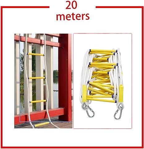 QINEOR Escalera de Seguridad de Emergencia Resistente al Fuego con Ganchos,para Niños y Adultos Escapar de la Ventana y el Balcón,Escalera de Cuerda de Escape de Incendios Resina,20meters: Amazon.es: Deportes y aire