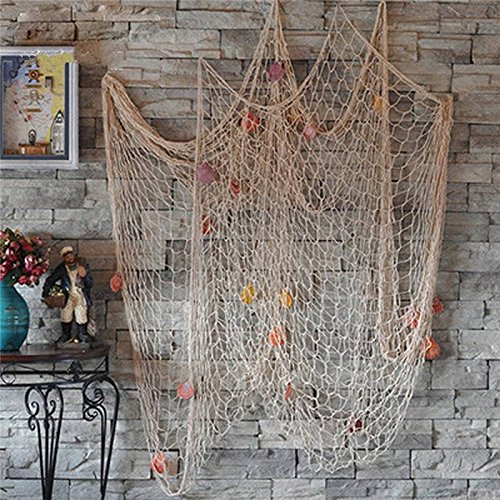 Bestag Modern style Home Decoration Nautical Decorative Fishing Net Seaside Beach Shell Party Door Wall Decoration (2mx1m, White)