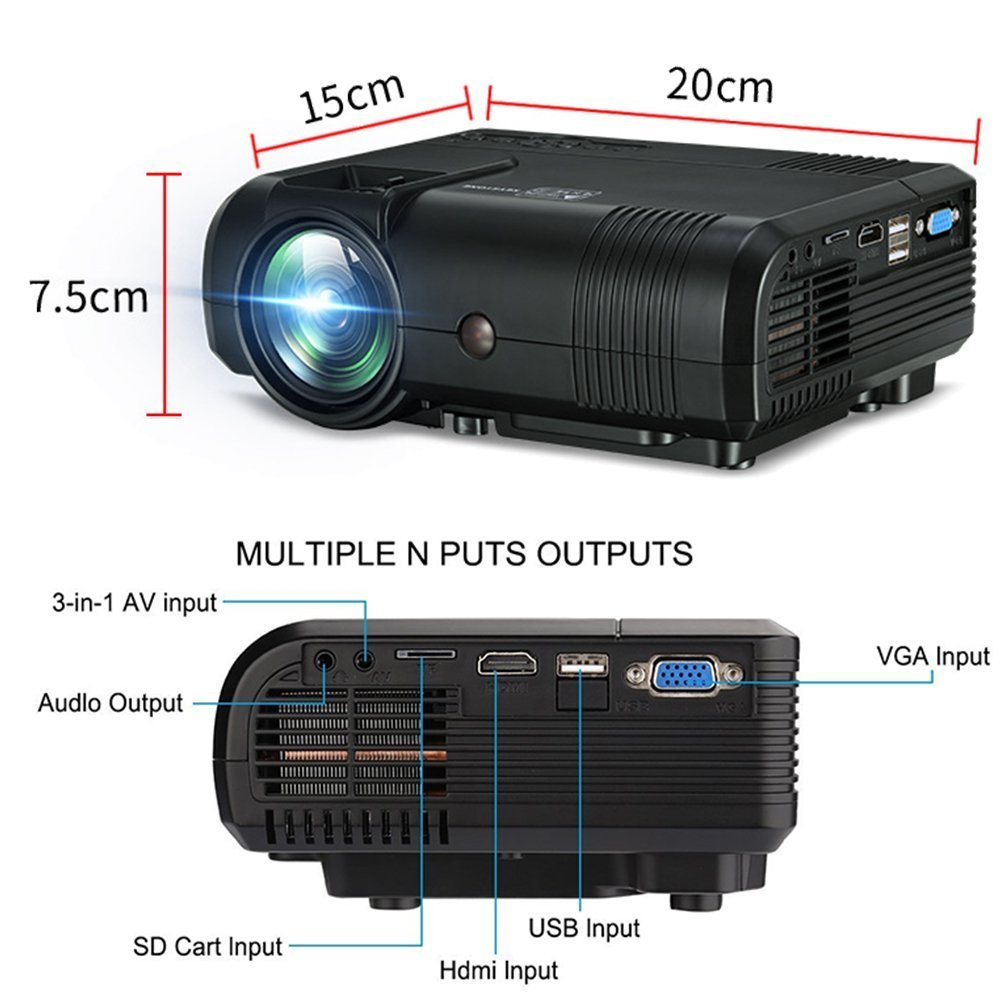 Projector, Weton 2200 Lumens Video Projector 1080P Portable Mini Projector Multimedia LED Projector Home Theater Movie Projector Support HDMI, USB, VGA, AV for IOS Android Smartphone (Plug and Play) by Weton (Image #6)