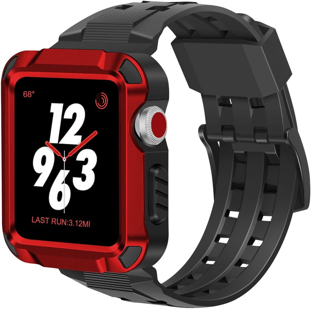 iiteeology Compatible with Apple Watch Band 42mm, Men Metal Rugged Apple Watch Case with Sports Breathable iWatch Bands for Apple Watch 42mm Series 3 Series 2 Series 1-Red