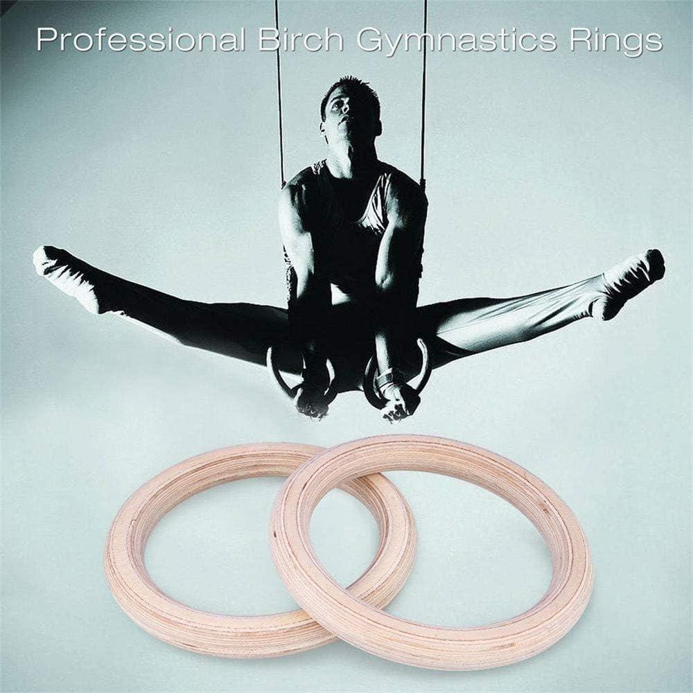 PXD913 Anneaux de Gymnastique en Bois avec Sangles r/églables,Anneau de Gymnastique /à Double Cercle pour lentra/înement en Force,entra/înement,Musculation,entra/înement crois/é,Pull-ups et Trempette