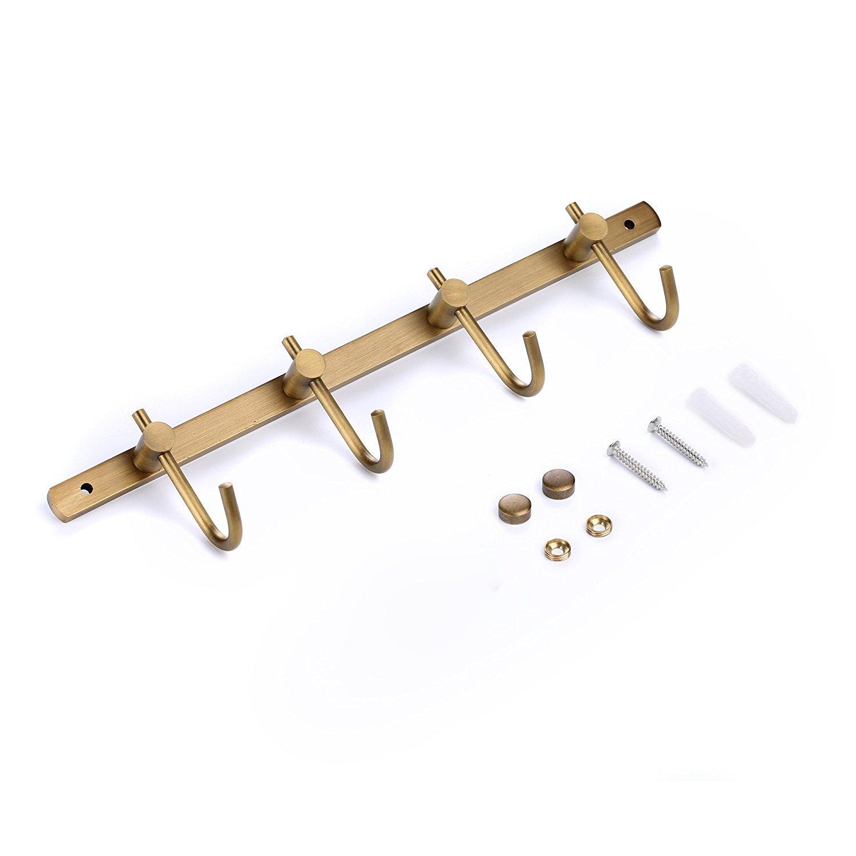 weare casa puerta montado en la pared clásico 6-Hook Robe Toalla de baño cocina utensilio utilidad gancho de metal/latón envejecido Super resistente ...