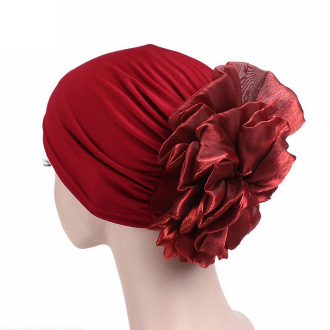 Jaminy 2017 FASHION Women Muslim Ruffle Cancer Chemo Hat Beanie Scarf Turban Head Wrap Cap Scarf Chemo Hat Turban Head Scarves Pre-Tied Headwear Bandana Tichel for Cancer (Gray)