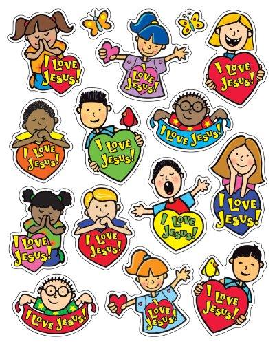 Carson Dellosa Christian I Love Jesus Shape Stickers (5288)