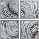 """Set of 4 Silver Geodes Prints in Silver Frames, 12"""" x 12"""" each (24"""" X 24"""" overall)"""