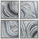 Set of 4 Silver Geodes Prints in Silver Frames, 12'' x 12'' each (24'' X 24'' overall)