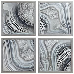 "Set of 4 Silver Geodes Prints in Silver Frames, 12"" x 12"" each (24"" X 24"" overall)"