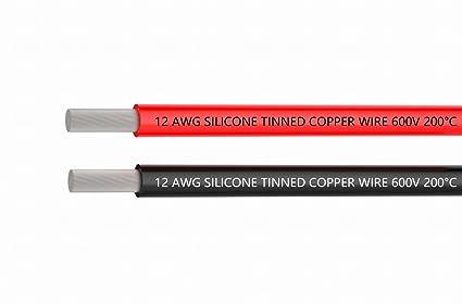 Alambres eléctricos 12 alambre de gancho de silicona de calibre Cable 3 m [1,5 m ...