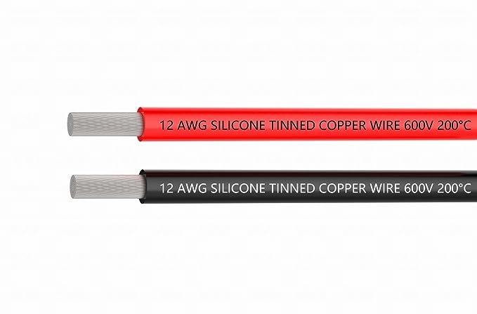 1,5 m schwarz und 1,5 m red aus kupfer kabel 12 awg 12er silikon draht haken auf kabel weich und flexibel 680 str/änge 0,08 mm massiv die hohe temperaturbest/ändigkeit