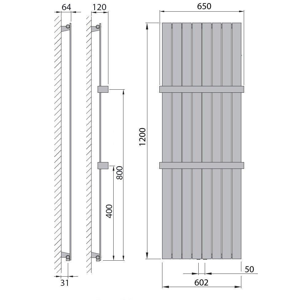 Design Paneelheizk/örper Heizk/örper Badheizk/örper mit Mittelanschluss Handtuchstange Edelstahl alle Gr/ö/ßen 1800 x 298, Wei/ß 543 Watt nach EN442