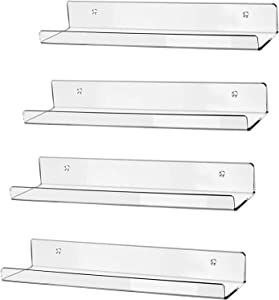 """hblife 15"""" Clear Acrylic Floating Wall Ledge Shelf, Wall Mounted Nursery Kids Bookshelf, Invisible Spice Rack, Clear 5MM Thick Bathroom Storage Shelves Display Organizer, 15"""" L x 4"""" D x 2"""" H, Set of 4"""