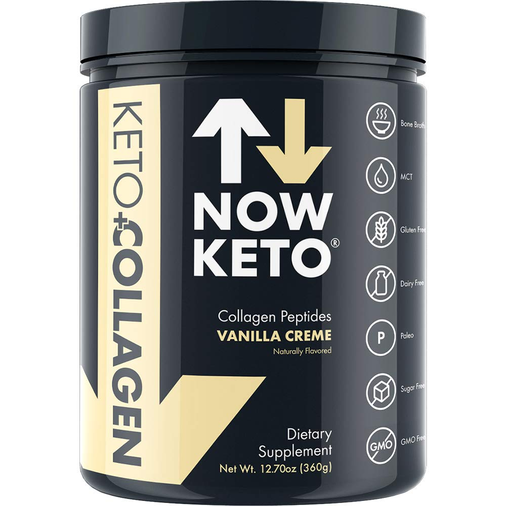 NOW KETO® Keto CollagenTM Peptides w/Keto MCTs Powder (Medium Chain Triglycerides) - Keto Diet - Great Fat & Fiber Source, Great for The Ketogenic Diet & Ketosis (Vanilla, 11.5oz) by NOW KETO