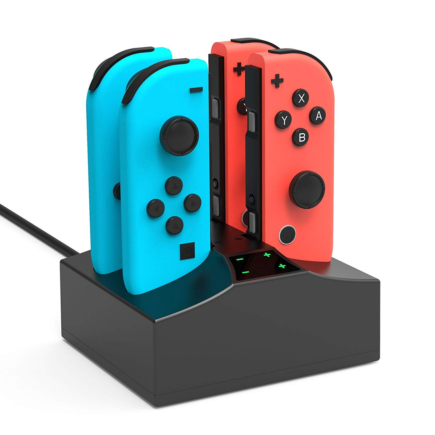 Joy-Con Charger Dock for Nintendo Switch,4 in 1 Joy-Con Fast Charging Station Stand with LED Indication and USB Type C Cable for Nintendo Switch Controller – Black