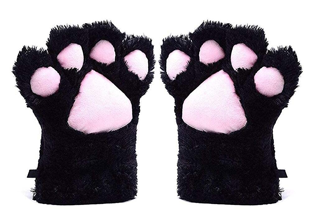 A&S Creavention Women Cat Bear Claw Paw Mitten Plush Glove Costume