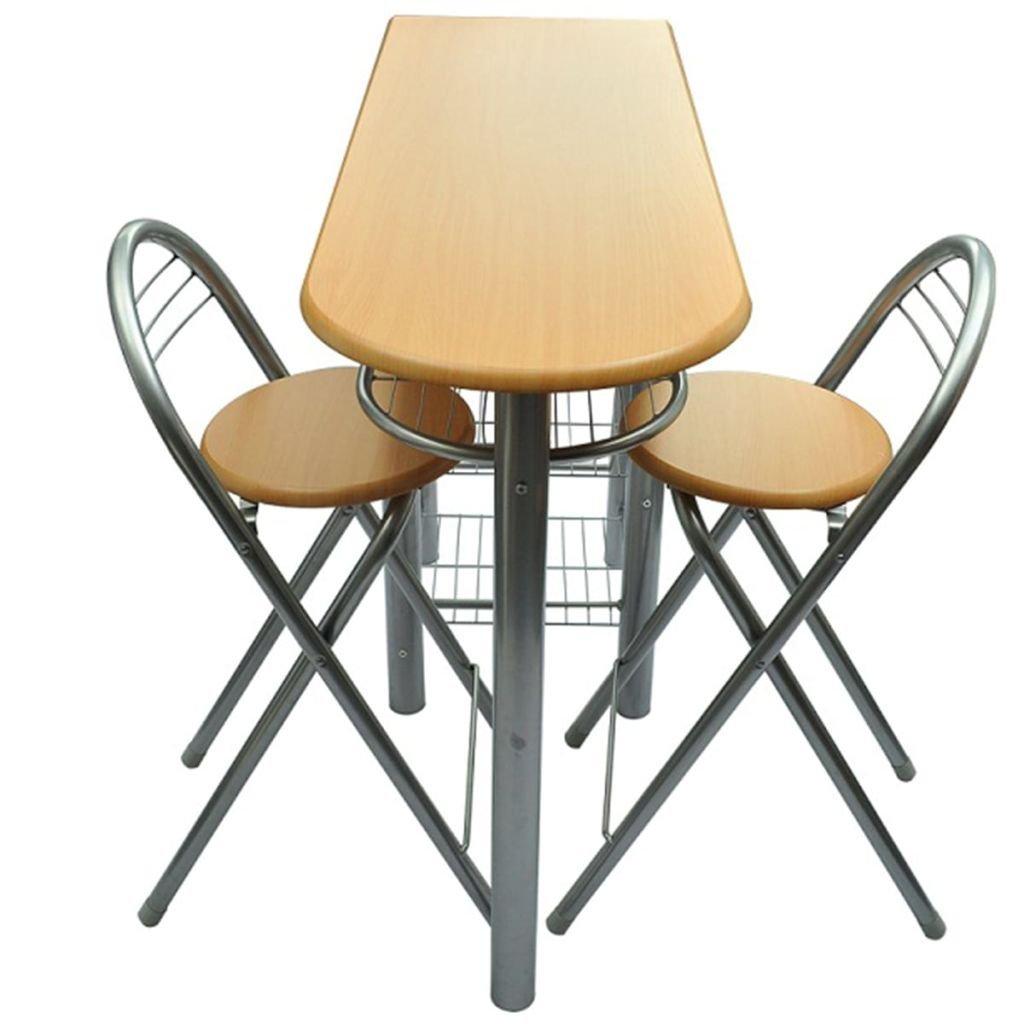 Vidaxl Table Bar Ensemble Avec 2 Chaises Meuble De Cuisine