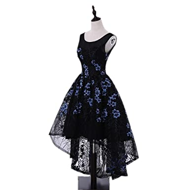 Pattern Floral Embroidery Prom Dresses 2018 Short Front Long Back High/Low Black Evening Prom
