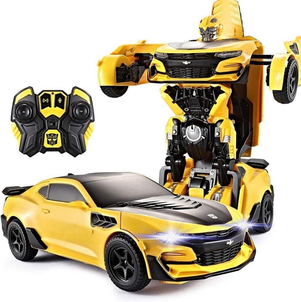 Kytwn Juguetes Transformador Control Remoto de Coches Gran abejorro Deformación inducción de Voz Activado por el Autobot Coche Modelo Recargable Inteligente Robot Perfecto Regalo (Color : Yellow)