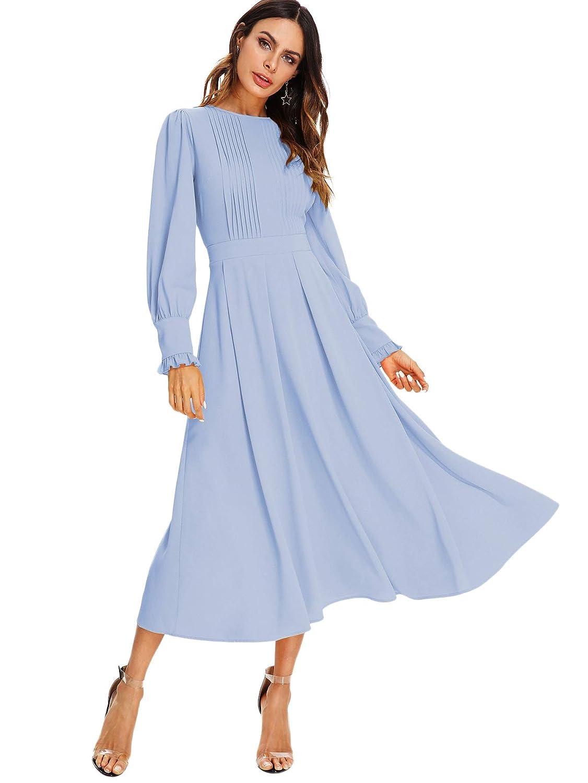 Alight bluee Milumia Women's Elegant Frilled Long Sleeve Pleated Fit & Flare Dress