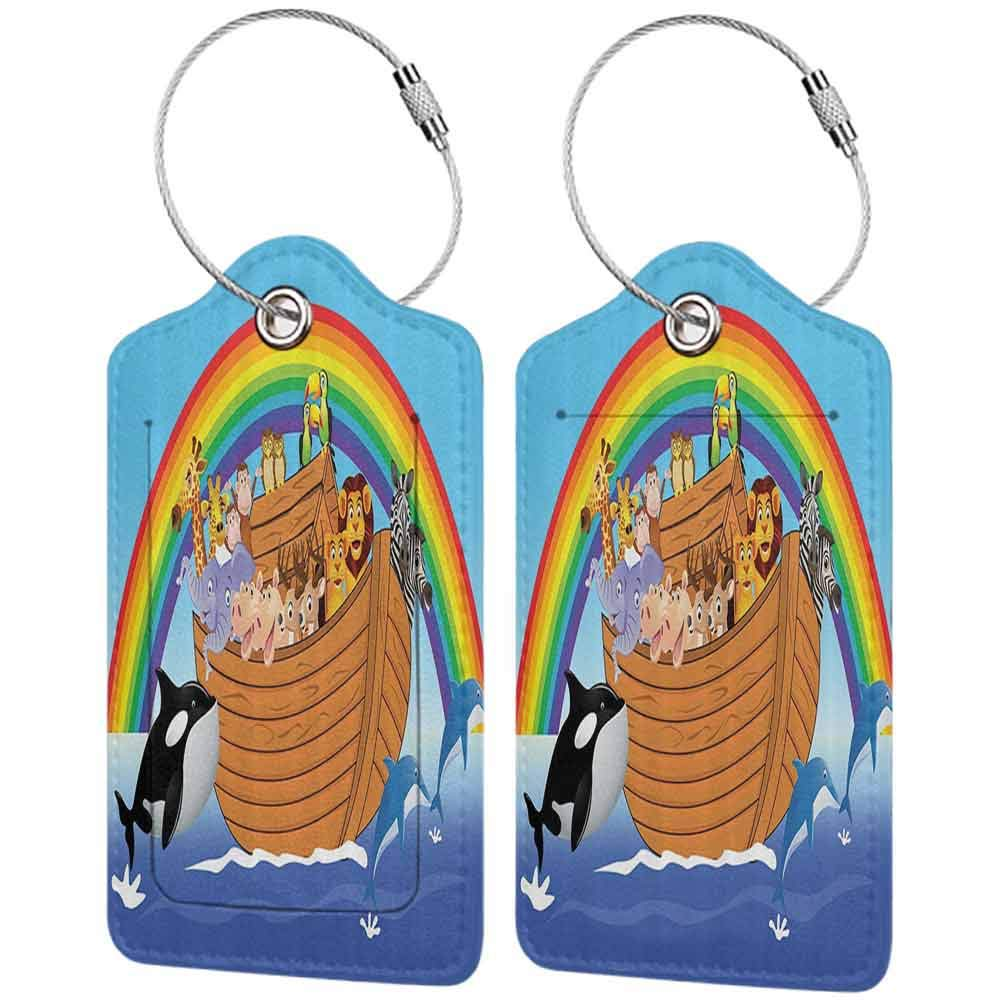 Modern luggage tag Noahs Ark Decor Collection Noahs Ark with Funny Animals Dolphins Swimming Artistic Design Suitable for children and adults Peru Blue Red Yellow W2.7 x L4.6