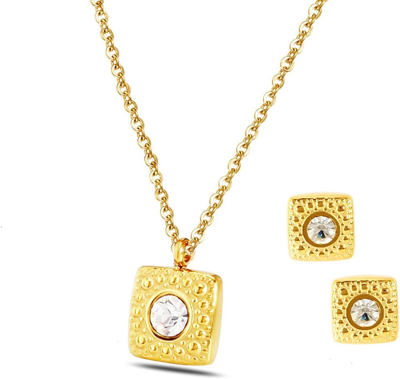 AnazoZ Conjuntos de Joyas para Mujer Pendientes y Collar Cuadrado Circonita Blanca Conjuntos de Mujer Oro/Plata