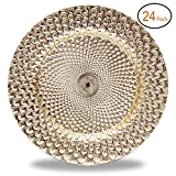 Fantastic:)™ Round 13''x13'' Plastic Charger Plates with Eletroplating Finish (24, Peacock Pattern Gold)